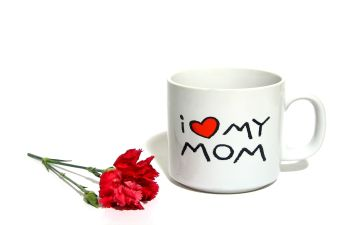 I Love My Mom Coffee Mug and a Red Rose