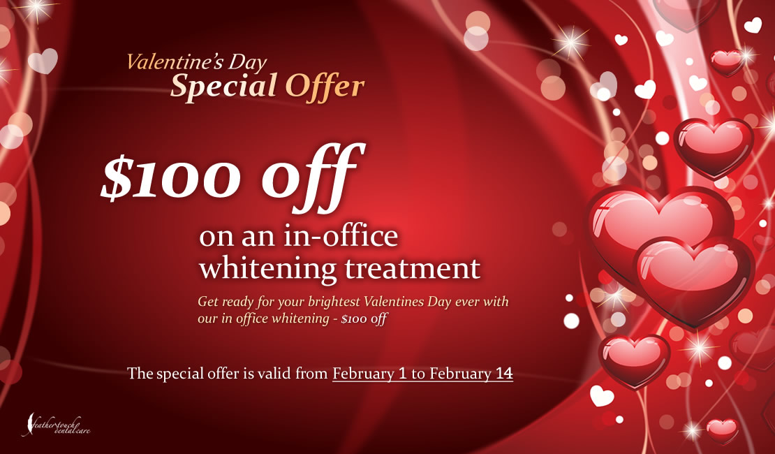 Advertising banner - Valentines Day ever with our in office whitening - $100 off
